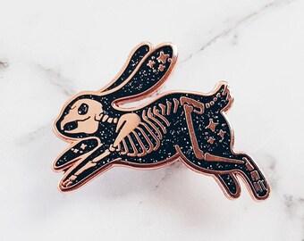 Skeleton Rabbit Hard Enamel Pin | Glitter Pin | Spooky | Starry