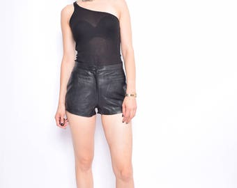 Vintage 90's Black Real Leather Shorts / Genuine Leather Biker Shorts - Size Extra Small
