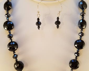 Deep Navy blue necklace and earring set