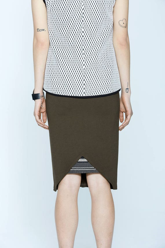 MARTINI - body-conscious skirt, stretch skirt, midi skirt for women - kaki green