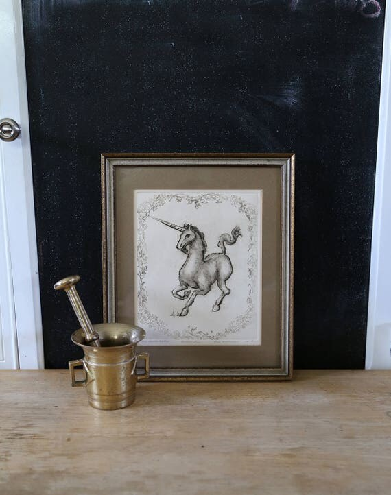 Vintage unicorn print wall art home decor 1970s horse art for Home decor 1970s