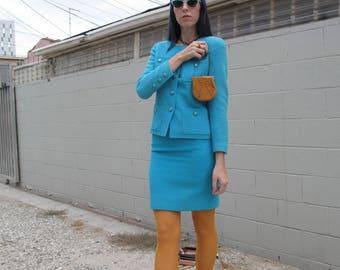 1980's 90's Chanel Tweed Skirt Suit sz 36