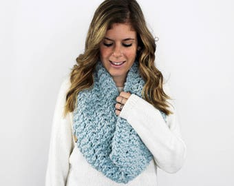 Knit Scarf Cowl Chunky Ribbed Glacier- Anacostia Cowl