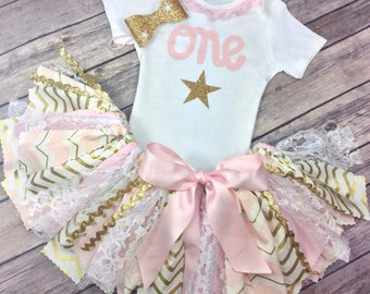 3 Piece Pink and Gold Glitter Star Birthday Outfit Including Onesie/Shirt, Fabric Tutu, and Headband, Twinkle Twinkle Little Star Birthday