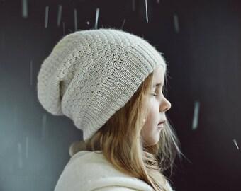 Textured knit kids alpaca hat / gray slouchy hat / knit alpaca hat woman knitted hat alpaca wool slouchy beanie over sized hat alpaca beanie