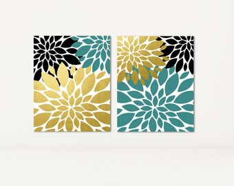 black teal faux gold flower burst print or canvas set of 2 large wall art dahlia - Bathroom Set For Sale
