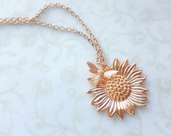 Rose Gold Sunflower and Bee Necklace, Summer Sunshine, Woodland Summer Wedding, Boho Rustic, Bridesmaids, Mother's Day - You Are My Sunshine