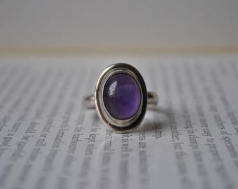 Vintage Sterling Amethyst Ring - 1970s Modernist Sterling Ring