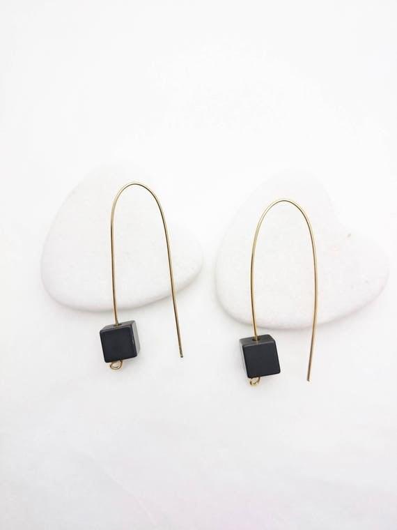 Long Gold Black Geometric Cube Pendants Earrings//Aluminium anodized black cube dangle earrings gold steel earwires//Modern Black Dangle