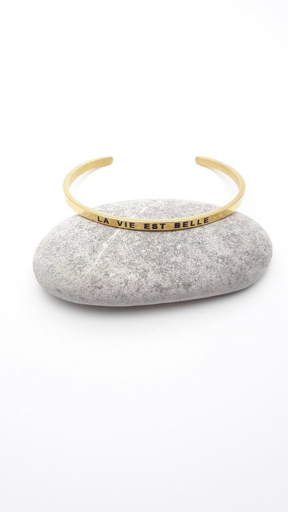 La Vie est belle message bangle bracelet gold plated stainless steel//Thin Minimalist Stacking Inspirational Bracelet//Quote engraved cuff