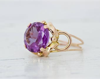 Vintage Alexandrite Ring   Retro 1940s Ring   14k Yellow Gold Ring   Rose Gold Ring   Antique 1930s Ring   Gemstone Ring   Size 6.25