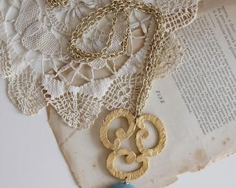Angelite light blue gemstone necklace