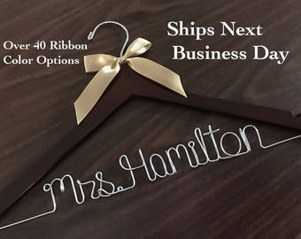 Ships Next Day, Wedding hanger, Priority mail option, wedding