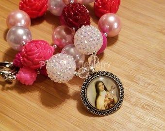 Catholic Jewelry, St Therese, Bubblegum Necklace, Multi Colored Rose Pearl Bead Necklace, Chunky Bead, Catholic Child, Catholic Toddler Gift