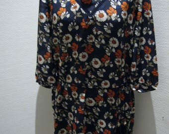 Floral Print Polyester Dress.