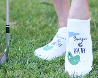 Ladies Golf Socks - Fun and Funny Sayings Designed for Golfers - Several Designs Available - White Cotton Socks Sold by the Pair