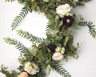 Wedding Garland - Eucalyptus Garland - Floral Garland - Garland Greenery - Floral Backdrop Arch  - Bridal Shower Decor - Baby Shower Decor