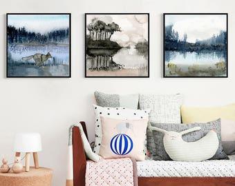 Set of 3 nature prints. Set of three paintings. Watercolour art prints. Landscape wall art, Woodland home decor. Set of 3 prints forest art.