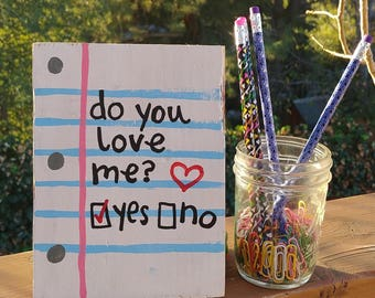 Love Note Valentine's Day Gift, Check Yes Or No Sign, Wood Love Note, Pallet Sign, Valentine's Day Sign