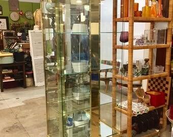 Vintage Mastercraft Brass and Glass Lighted Vitrine Curio China Cabinet