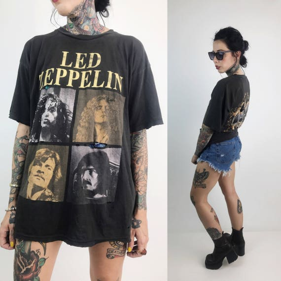 80's Distressed Led Zeppelin Concert T-Shirt Large - English Rock Band Led Zeppelin Front & Back Print Band Members Holey Thin Concert Tee