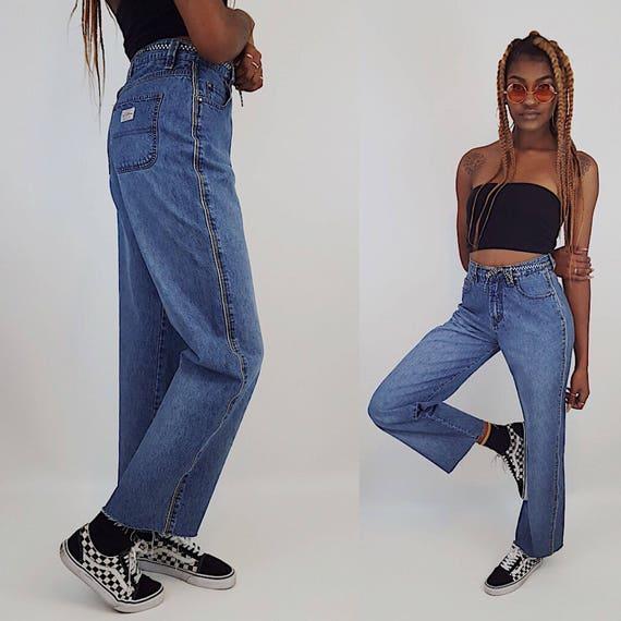 90's JNCO Style Wide Leg Denim Dark/Medium Wash Jeans Small - Vintage Baggy Skater Pants Grunge Wide Leg Jeans -1990s Frayed Denim Jeans
