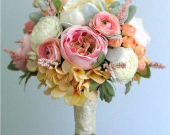 "Pink, Peach, Green, Ivory, Silk Flower Bridal Bouquet, Roses, Ranunculus, Hydrangea, Heather, Lamb's Ear Leaf, Spring Summer Wedding, ""Cora"""