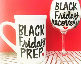 Survival Kit- Coffee Mug and Wine Glass Combo- Gifts for Host-Holiday Gifts-Prep and Recovery Before and After- Black Friday prep and recove