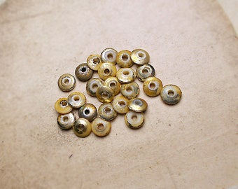 Altered Vintage Plastic Saucers| 25 Super Rustic Plastic Beads | 6mm Disc Beads | Ivory White, Peeled Gold | Shabby Mod  Sparkle Distressed