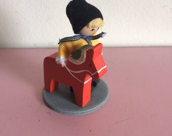 Vintage  Swedish Handmade Boy and Dala Horse
