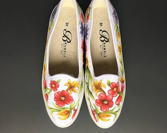 Size US 8.5-9 / EU 39 Hand Painted Canvas Shoes  Wild Flowers Motif
