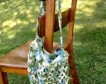 Cotton Market Bag - Blue and Green Produce Bag
