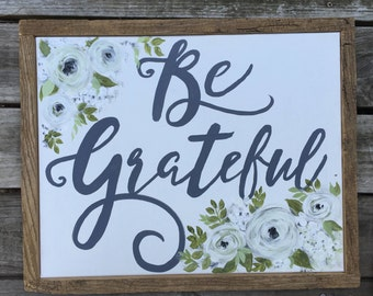 Be Grateful Original Painting on Canvas Barnwood Frame  Farmhouse Decor  Fall Decor  Rustic home Decor  Original Artwork