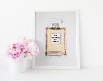Chanel Perfume Bottle Watercolor - Digital Download Instant Print - Gold Perfume - Coco Chanel - Watercolor Art Print - Watercolor Fashion