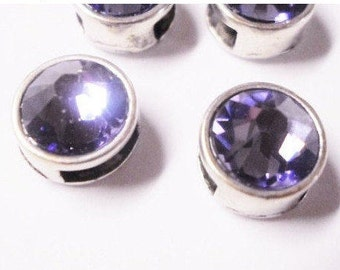 2 Small Tanzanite Genuine Swarovski Crystal Sliders for 5mm flat Leather, 6mm flat leather, 2mm round Leather,