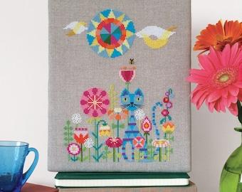Garden Cat - Satsuma Street modern cross stitch pattern PDF - Instant download