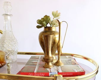 Vintage Brass Vase Trio Bud Vase Wedding Decor Gold Boho Home Decor