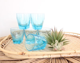 Set 6 Blue Whiskey Glasses Shot Glasses Vintage Barware Midcentury Barware