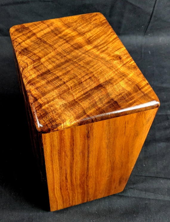 "Large Curly Hawaiian Koa Memorial Cremation Urn... 7""wide x 5""deep x 9""high Wood Adult Cremation Urn Handmade in Hawaii LK021918-B"