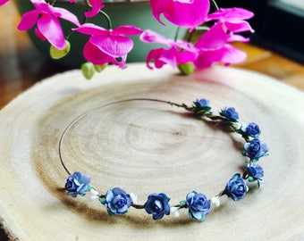 Blue Flower Crown, Flower Crown, Flower Girl Headpiece,Flower Halo,Bridal Flower Crown,Floral Crown,Flower Crown Bridal,Wedding Flower Crown