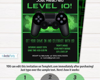 Video Game Party Invitations, Video Game Invitation, Video Game Birthday, Gaming Party Invitation, Game Party - INSTANT ACCESS - Edit NOW!