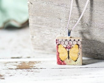 Nature Lover Butterfly Scrabble Tile, Unique Gifts, Vintage Style, Jewelry Gifts for Her, Gift for Women, Upcycled Jewelry Boutique Necklace