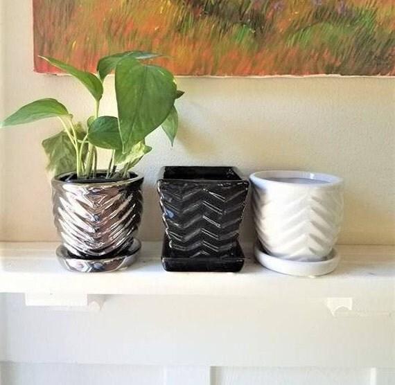 Chevron textured pattern planters, square planter, succulent pot