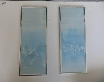 Modernist Palette Knife 2 Framed Prints of Sailboats White on Blue Mid Century Art Decor