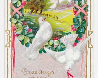 Summer Lovebirds Birthday Postcard, c. 1910