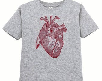 Toddler Anatomical Heart Tshirt, Anatomy T Shirt, Horror, Vintage Medical Illustration Tee, Childrens Clothes Kids Clothing, Ringspun Cotton