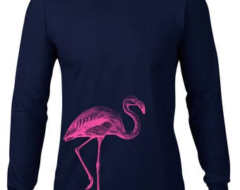 Long Sleeve Shirt, Flamingo Tshirt, Pink Flamingo T Shirt, Flamingo Tee, Ringspun Cotton, Mens Plus Size