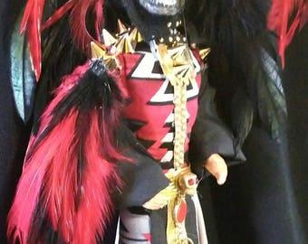 """Tezcatlipoca - Aztec Mayan God of Night & Sorcery """"The Smoking Mirror"""" OOAK Barbie Ken doll Dakotas Song"""