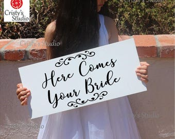 "Wedding Sign - Personalized ""Here Comes Your Bride"" Sign"