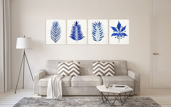 Abstract Leaf Watercolor Print Set Of 4 Minimalist Art Blue